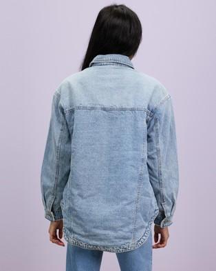 Missguided - Borg Lined Oversized Jacket - Denim jacket (Light Blue) Borg Lined Oversized Jacket