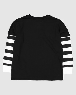 Billabong - Groms Maze Long Sleeve Tee Short T-Shirts (BLACK)