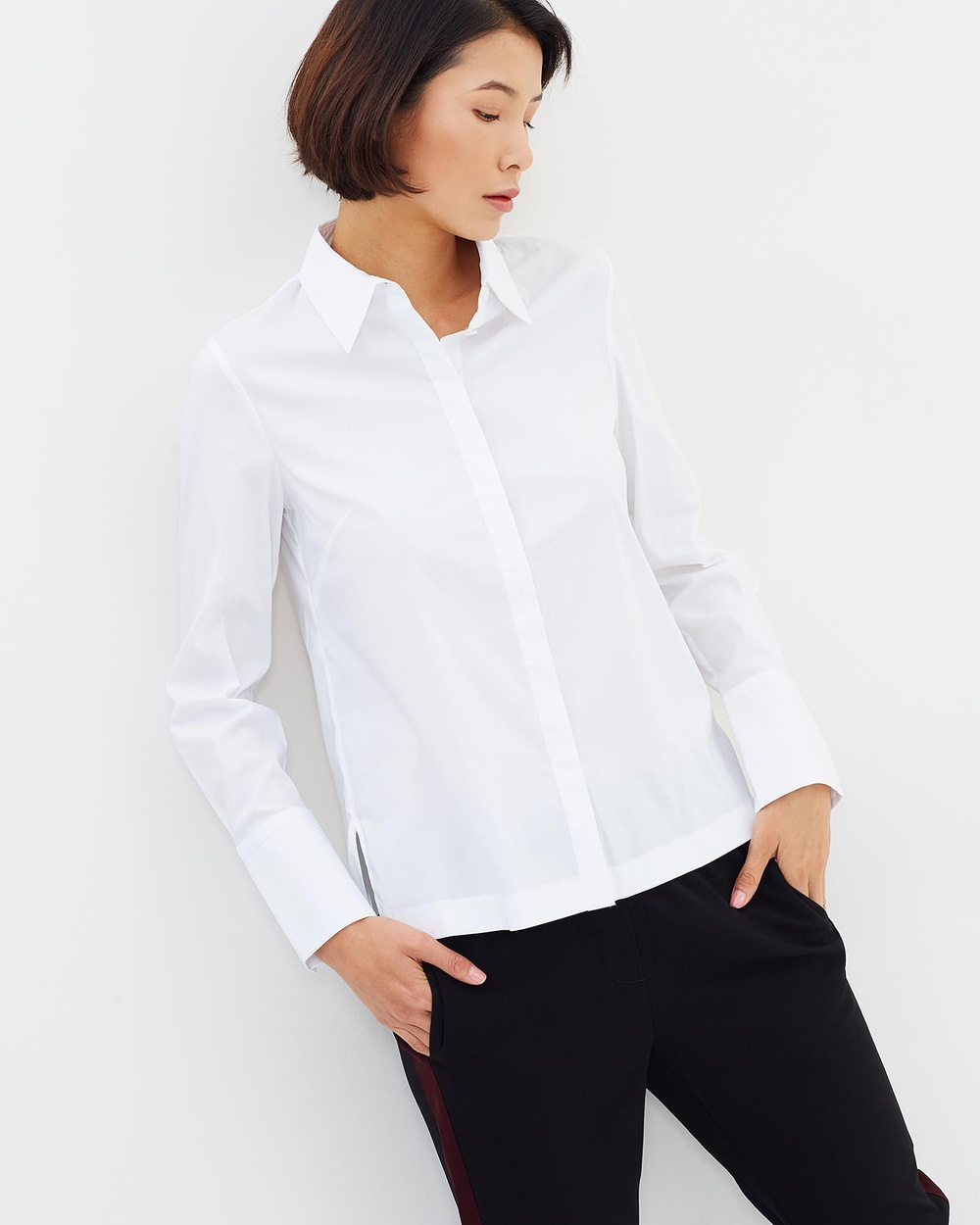 SABA Georgina Wide Cuff Top Tops white Georgina Wide Cuff Top