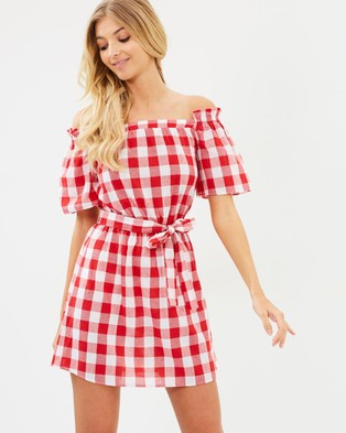 Atmos & Here – Jessabelle Off Shoulder Dress Red & White