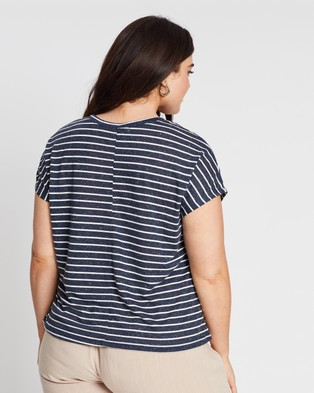 Atmos&Here Curvy - Striped Pocket Tee - T-Shirts & Singlets (?ÇïNavy & White Stripe) Striped Pocket Tee