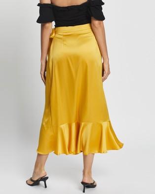 Glamorous Ruffle Midi Wrap Skirt - Skirts (Mustard)