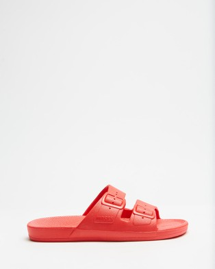 Freedom Moses Slides   Unisex - Casual Shoes (Red)