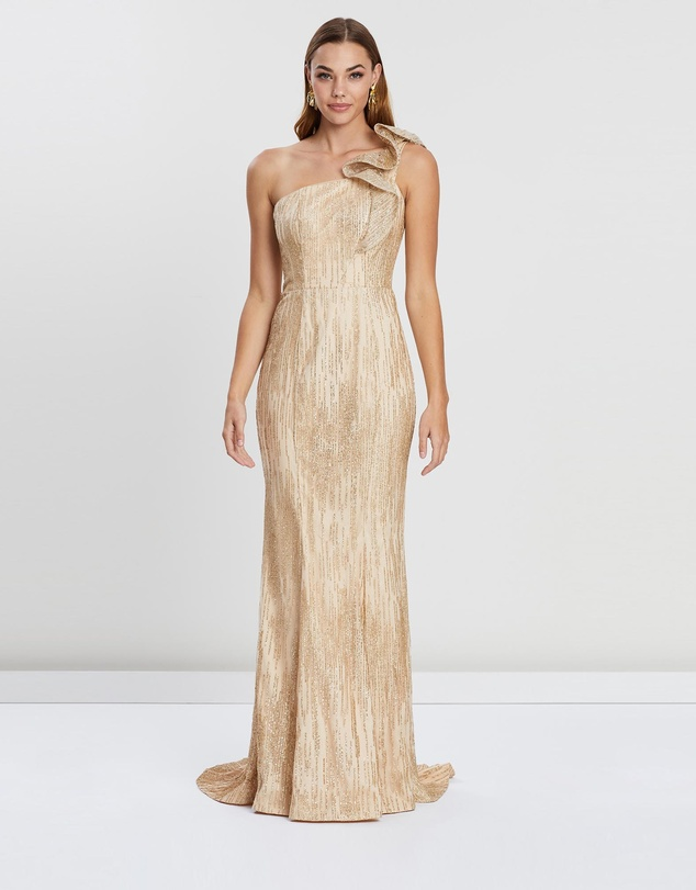 Bariano - Viva Ruffle Shoulder Glitter Gown