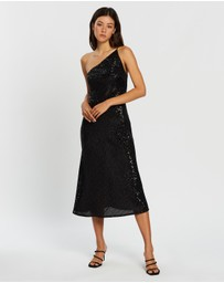BY JOHNNY. - Shine Asymmetric Bias Midi Dress