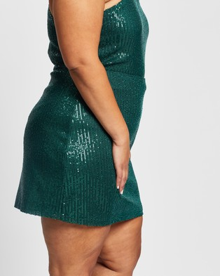 Atmos&Here Curvy - Savannah Sparkle Skirt - Skirts (Green Sequin) Savannah Sparkle Skirt