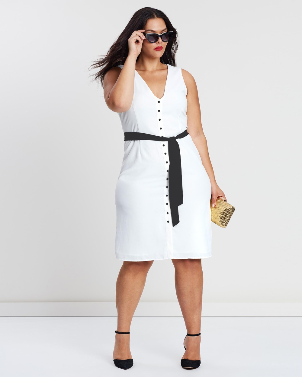 Atmos & Here Curvy White & Black ICONIC EXCLUSIVE – Maddi Bow Dress