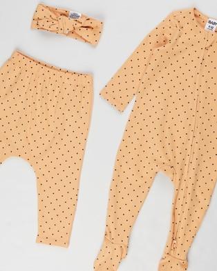 Cotton On Baby Bundle LS Romper, Leggings & Tie Headband   Babies - Hair Accessories (Joy Spot Apricot Sun & Navy Blazer)