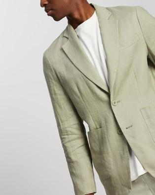 AERE Relaxed Linen Blazer - Blazers (Sage)