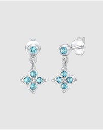 Elli Jewelry - Earrings Children Flower Blue with Swarovski® Crystals in 925 Sterling Silver