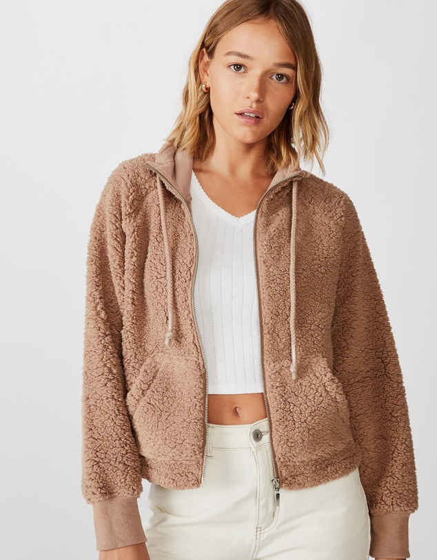 Cotton On - Teddy Zip-Through Cropped Hoodie