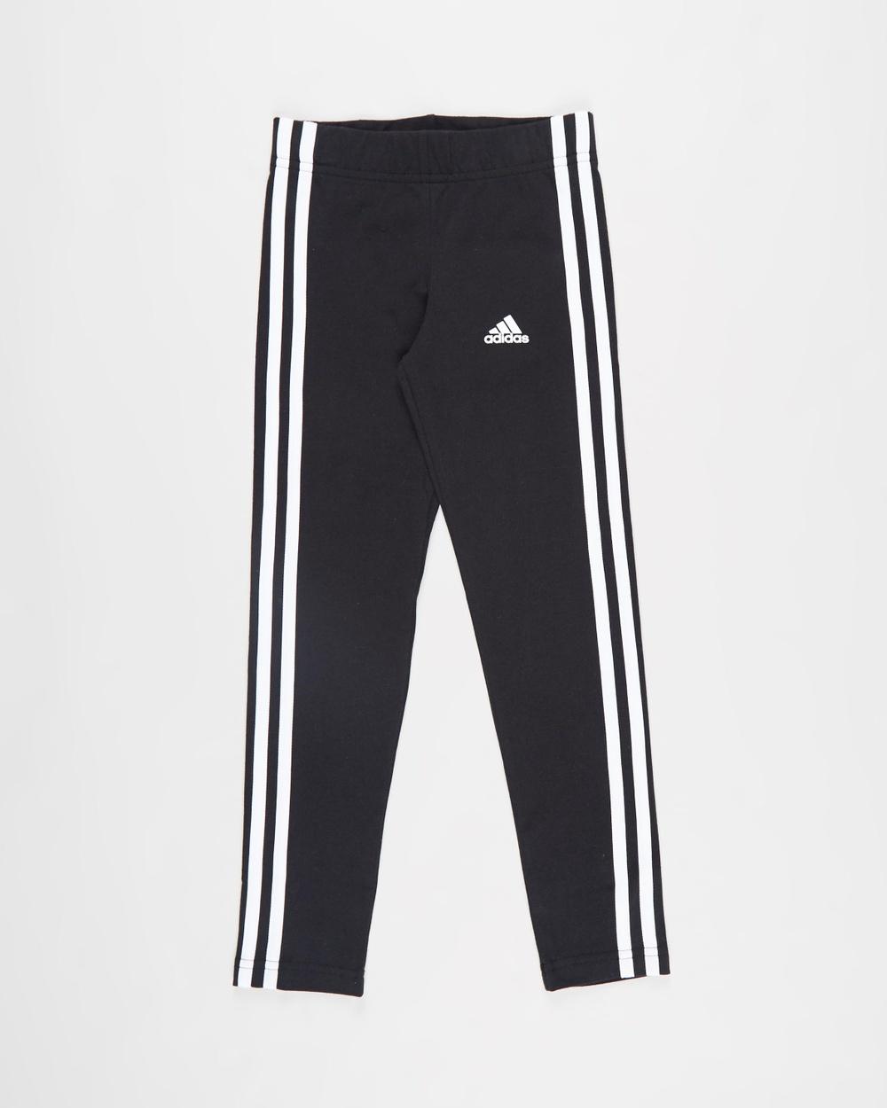 adidas Performance Essentials 3 Stripes Leggings Kids Teens Pants Black & White 3-Stripes Kids-Teens