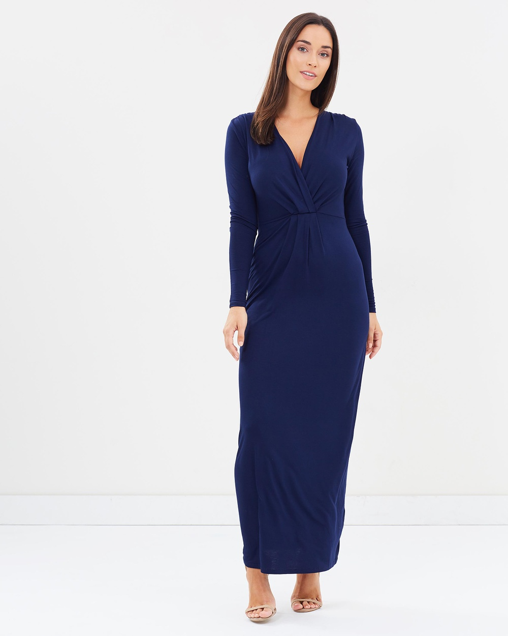 Dorothy Perkins Pleat Maxi Dress Dresses Navy Blue Pleat Maxi Dress