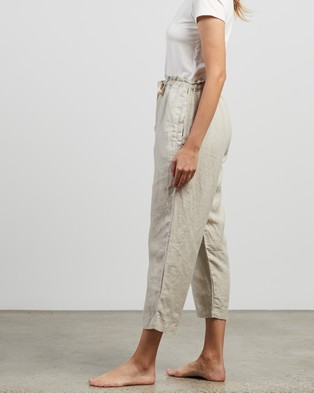 IN BED 100% Linen Pants - Sleepwear (Dove Grey)