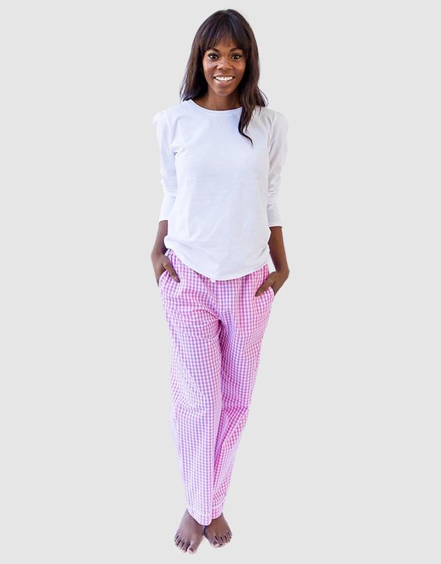 Women Women's Hepburn Gingham Pink Long PJ Pants