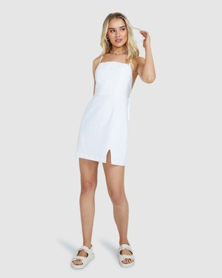 Subtitled Robin Tie Back Linen Dress - Dresses (WHITE)