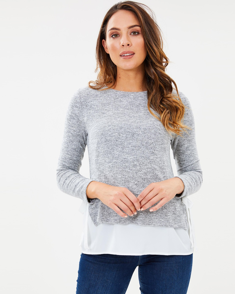 Oasis Tie Side Cosy Top Tops Pale Grey Tie Side Cosy Top