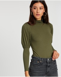 Boohoo - Rib High Neck Blouson Sleeve Bodysuit