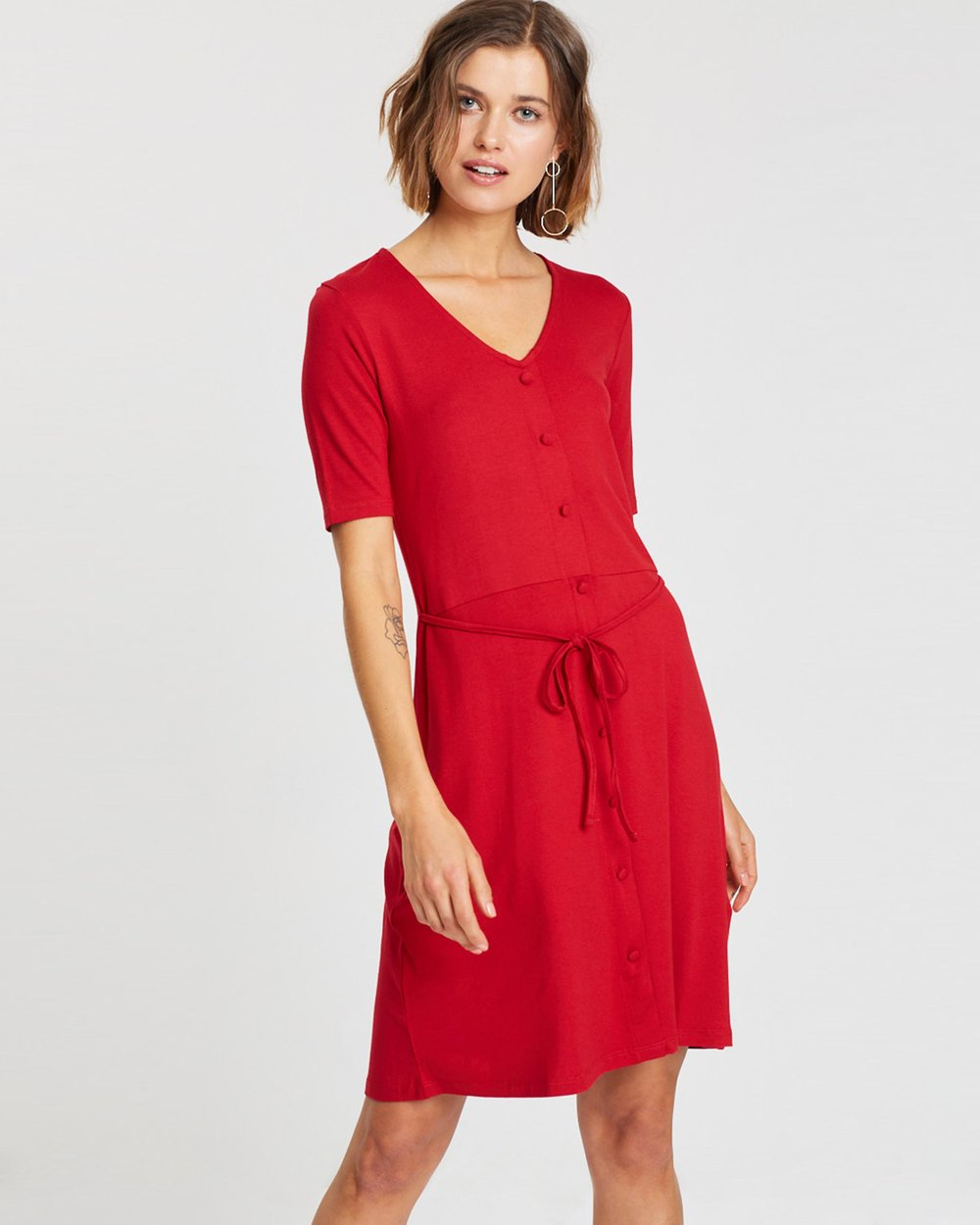 4576f4295 Button Fit-and-Flare Dress by Dorothy Perkins Online | THE ICONIC |  Australia