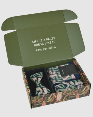 Peggy and Finn Flowering Gum Bow Tie Gift Box - Ties & Cufflinks (Green)