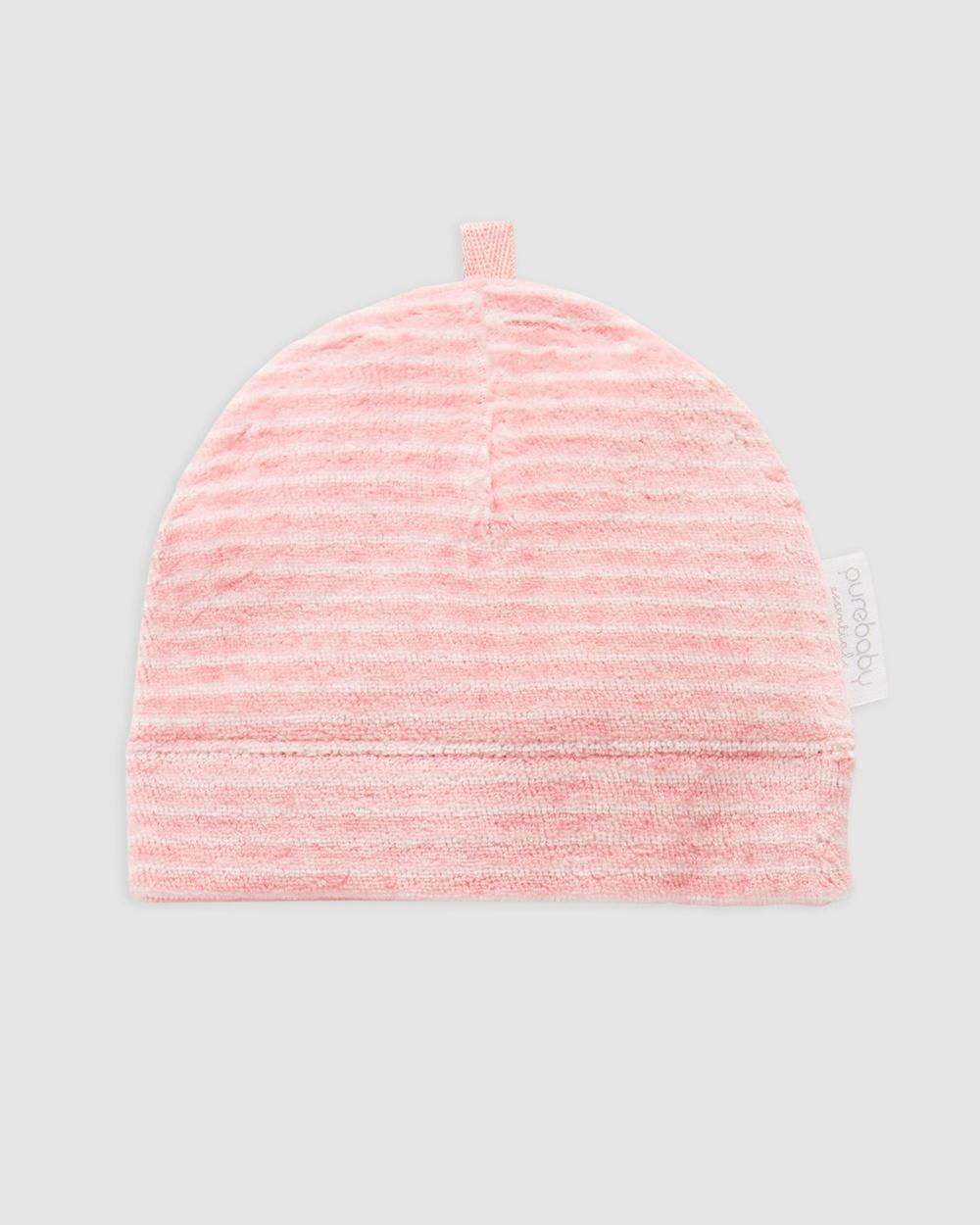 Purebaby Premie Hat Babies Headwear Bud Pink Stripe