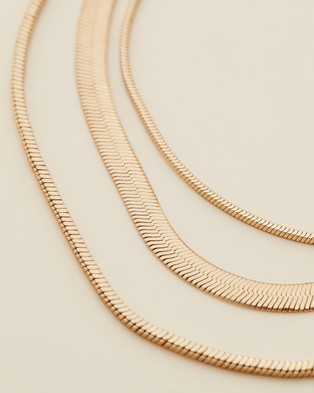 Orelia London Snake Chain 3 Row Necklace - Jewellery (Pale Gold)
