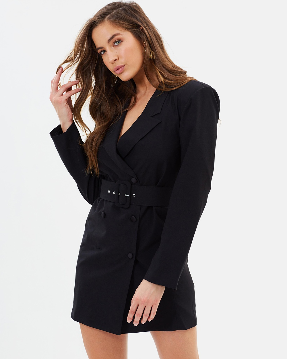 Missguided Crepe Belted Button Blazer Dress Dresses Black Crepe Belted Button Blazer Dress