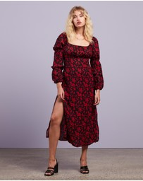 Missguided - Square Neck Floral LS Midi Dress