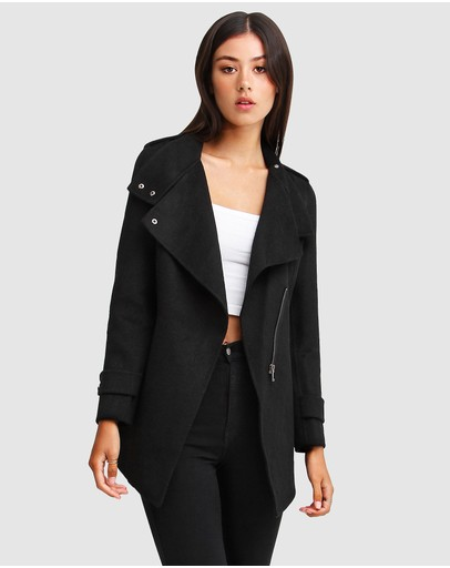 Belle & Bloom - Bad Girl Wool Blend Moto Coat
