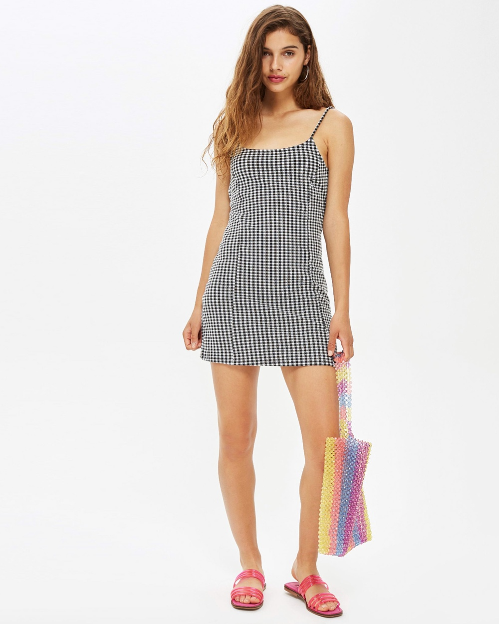 TOPSHOP Gingham Mini Pinafore Dress Dresses Monochrome Gingham Mini Pinafore Dress