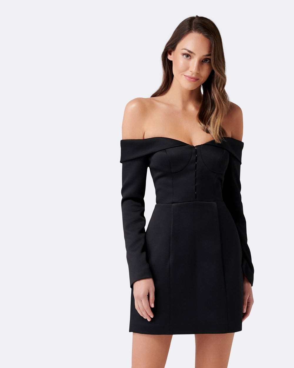 Forever New Designer Edit Sophie Structured Bodice Dress Bridesmaid Dresses Black Sophie Structured Bodice Dress
