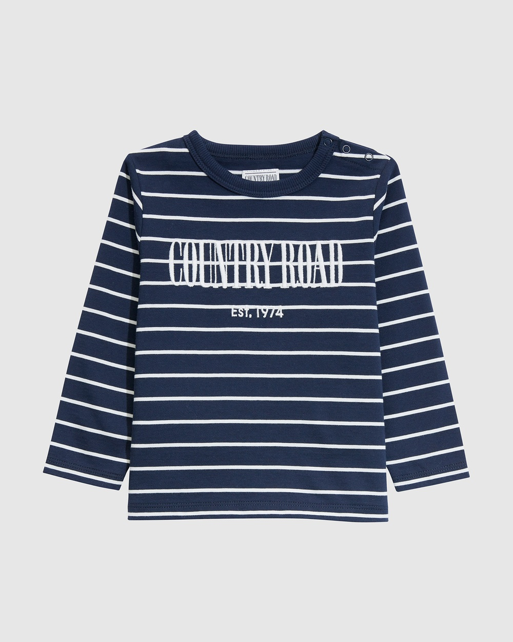 Country Road Verified Australian Cotton Long Sleeve Heritage T shirt T-Shirts & Singlets blue T-shirt