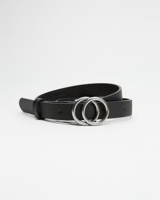 Decjuba Kids Thin Double Circle Belt   Teens - Belts (Black & Burnished Silver)