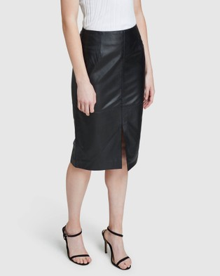 Oxford Darby Leather Pencil Skirt - Leather skirts (Black)