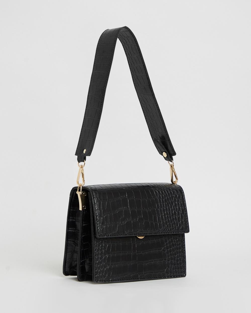 Calli Forrester Concertina Bag Handbags Black Croc Handbags Australia