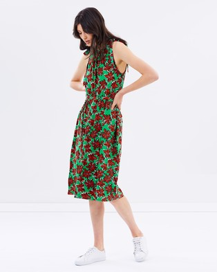 Warehouse – Woodblock Daisy Maxi Dress – Dresses (Green)