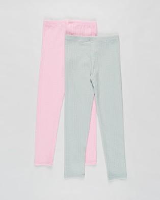 Cotton On Kids 2 Pack Huggie Tights   Kids Teens - Pants (Cali Pink & Stone Green)