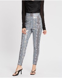 Missguided - PU Snake Tapered Trousers