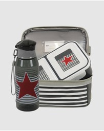 Bobbleart - Dome Lunch Bag Small Bento Box and Drink Bottle Star and Stripe