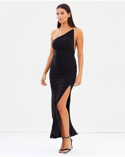 Skiva Embellished One Shoulder Evening Dress Black