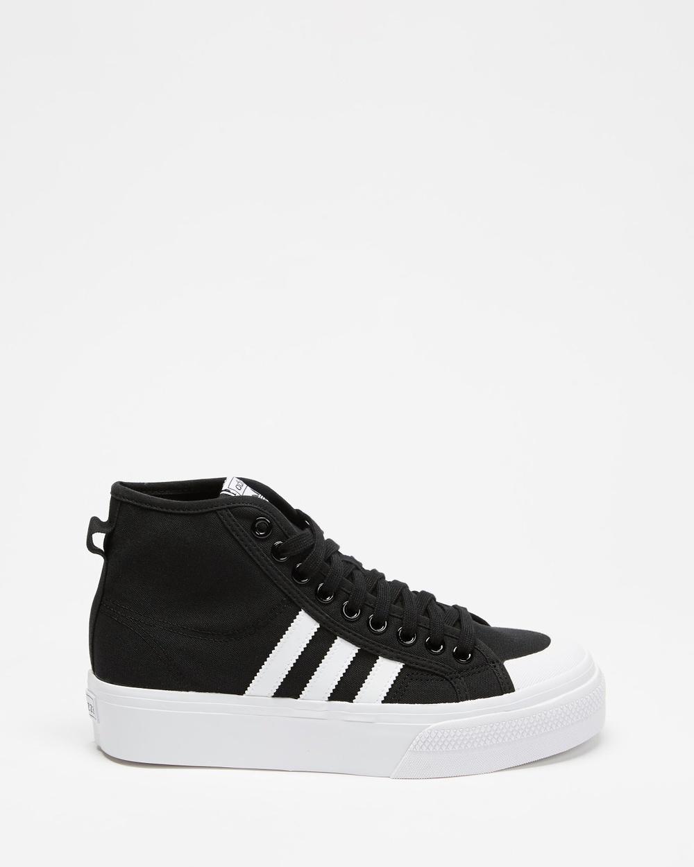 adidas Originals Nizza Hi Platform Women's Lifestyle Sneakers Core Black, Footwear White & White