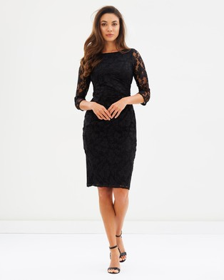 Billie & Blossom by Dorothy Perkins – Lace Sleeve Body Con Dress Black