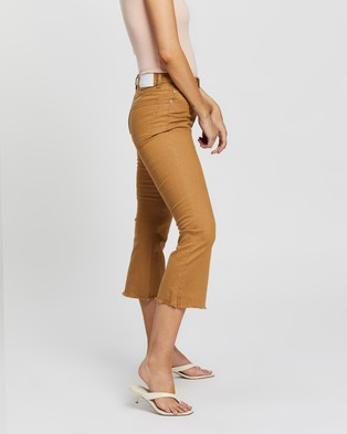 Glamorous 3 4 Cropped Flare Jeans - Flares (Tan)