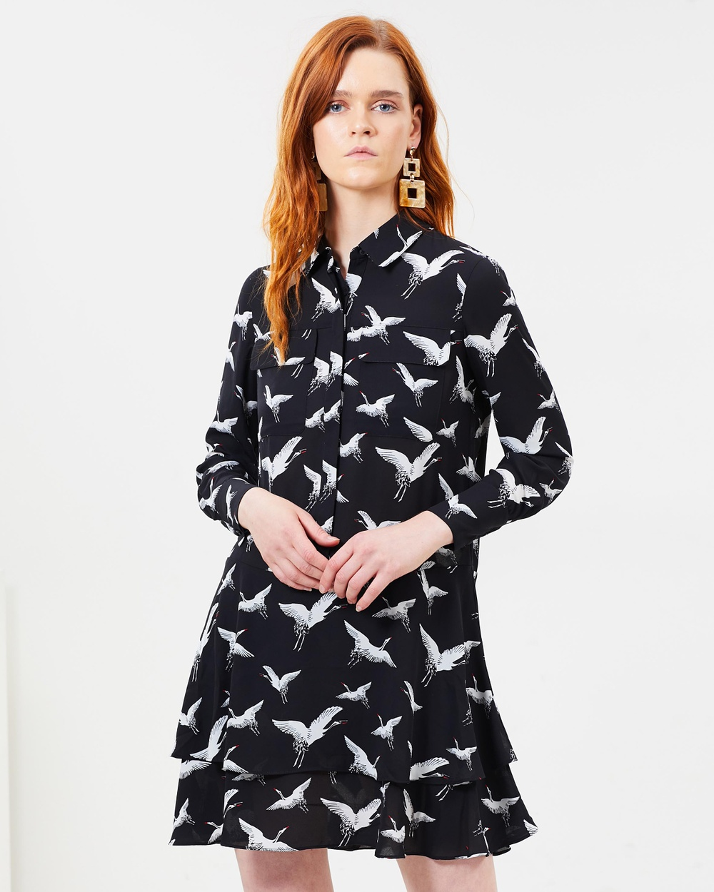 Whistles Crane Print Shirt Dress Printed Dresses Black & Multi Crane Print Shirt Dress