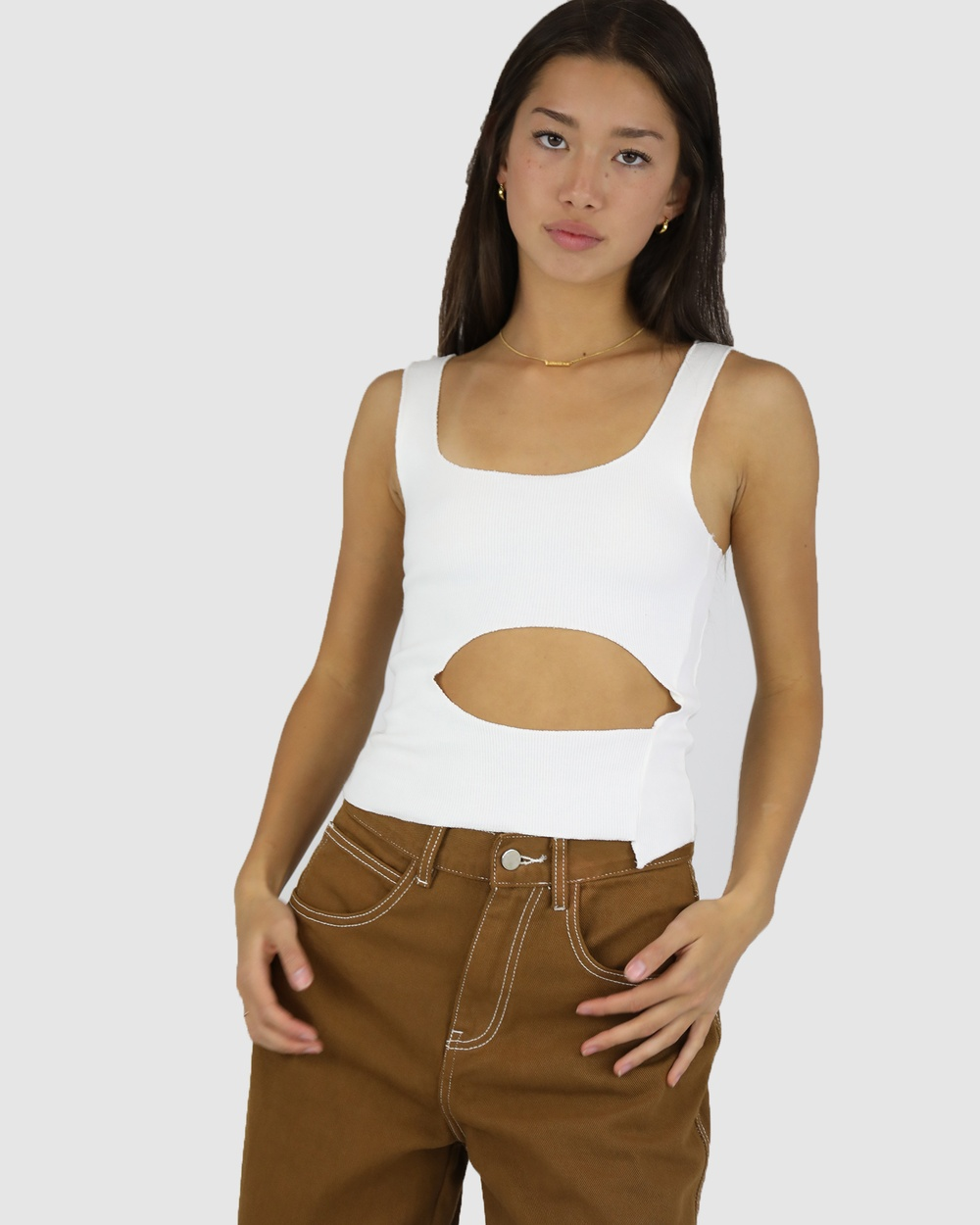 Dakota501 - Holey Rib Top - Tops (Off White) Holey Rib Top