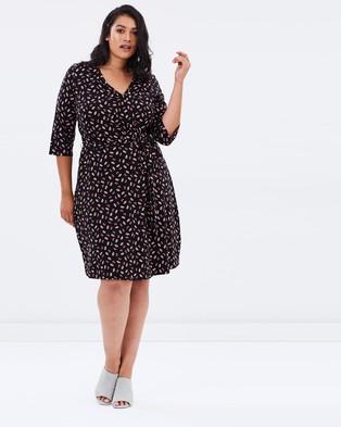 DP Curve – Rose Print Flute Sleeve Wrap Dress – Dresses (Black)