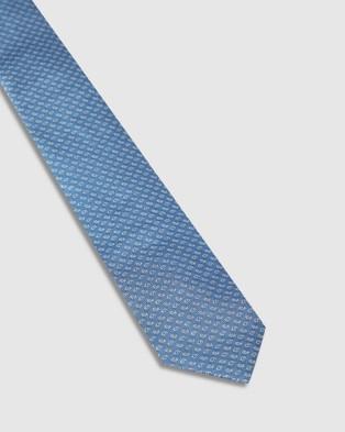 Oxford Silk Mini Paisley Tie - Ties (Blue)
