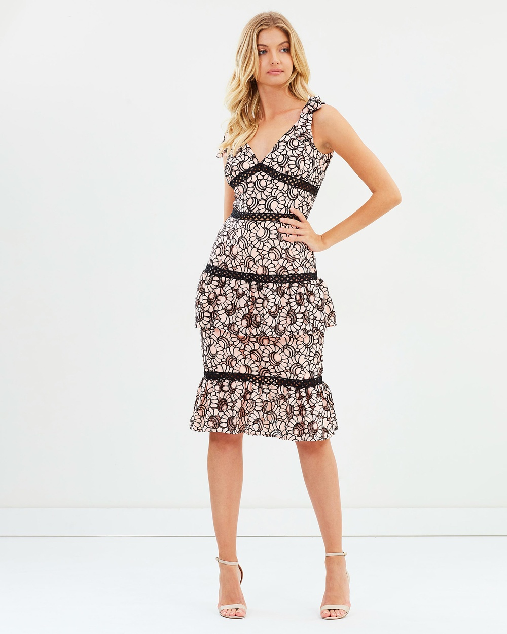Atmos & Here ICONIC EXCLUSIVE Courtney Lace Dress Dresses Pink & Black Lace ICONIC EXCLUSIVE Courtney Lace Dress
