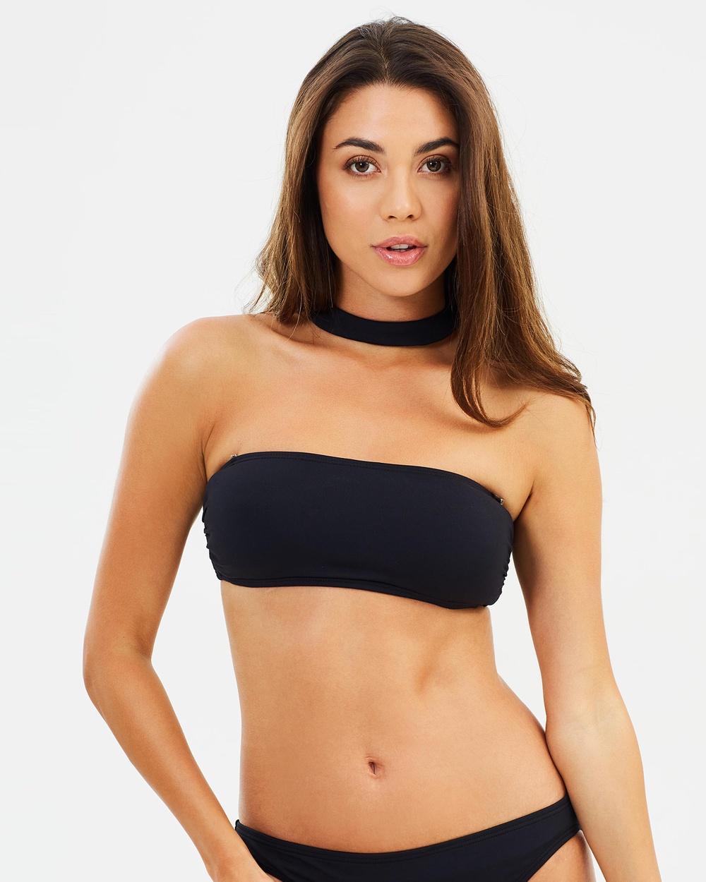 Michael Kors Choker Bandeau Bikini Top Bikini Tops Black Choker Bandeau Bikini Top