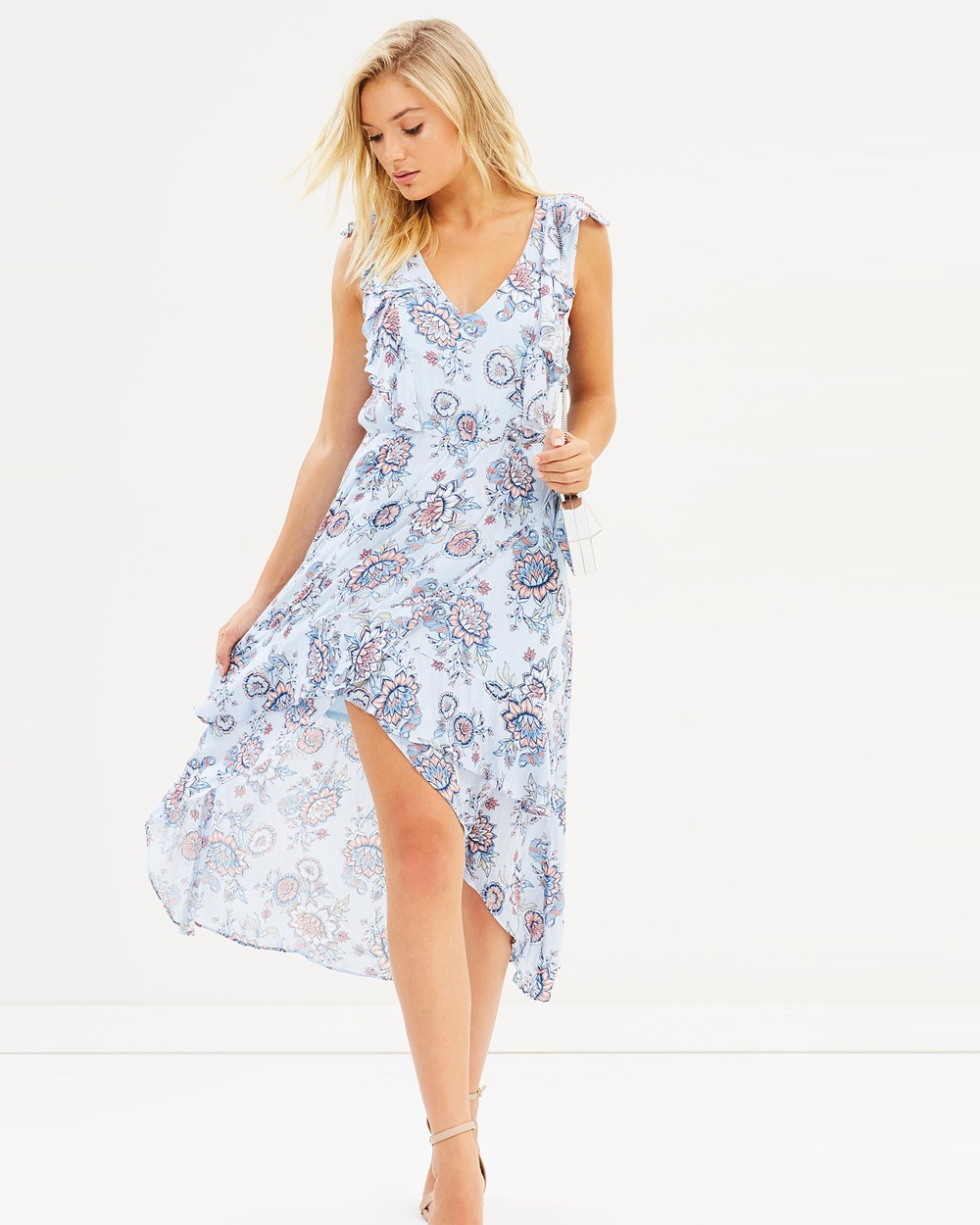 Atmos & Here ICONIC EXCLUSIVE Trixie Wrap Dress Printed Dresses Cashmere Floral ICONIC EXCLUSIVE Trixie Wrap Dress